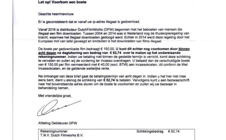 Valse brieven in omloop voor boetes illegaal downloaden
