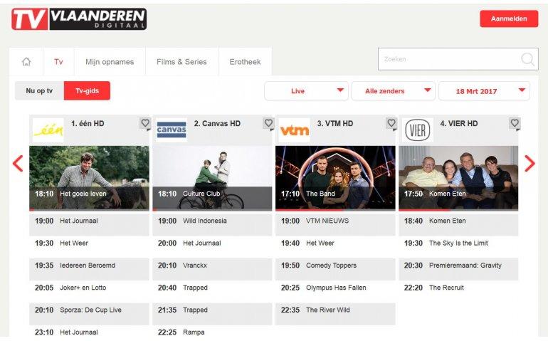 Veel nieuwe zenders via live TV app TV Vlaanderen