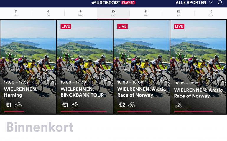 Eurosport heeft problemen Eurosport Player nog niet onder controle