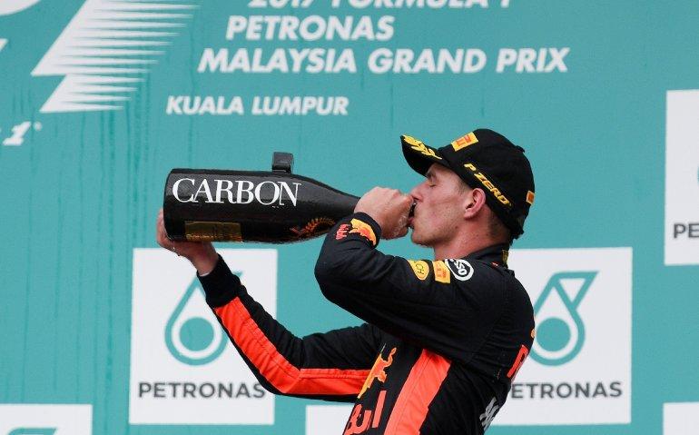 Winnende Max Verstappen in Ziggo Sport Peptalk