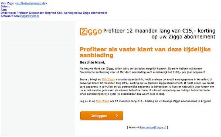 Ziggo weer grootschalig misbruikt voor phishing mails