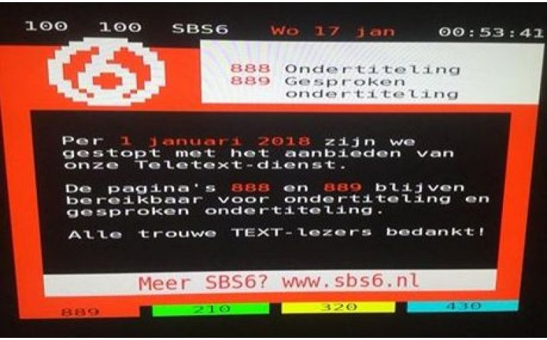 SBS-zenders stilletjes gestopt met Teletekst