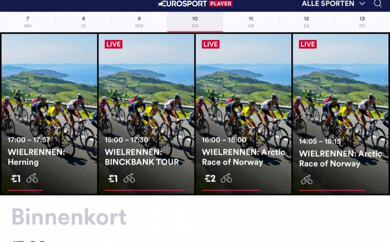 Eurosport stunt met Olympisch abonnement Eurosport Player