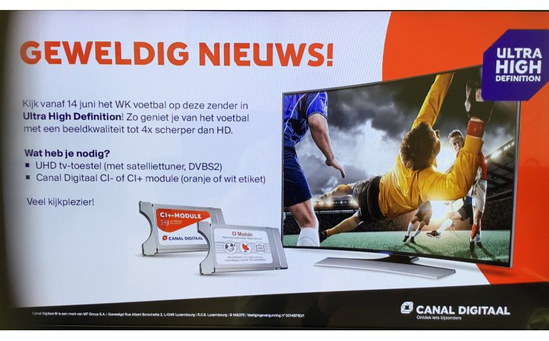 Canal Digitaal begint testuitzending NPO 1 UHD