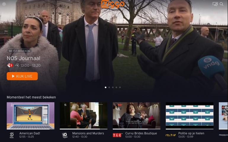 Ziggo werkt aan vernieuwing tv-dienst