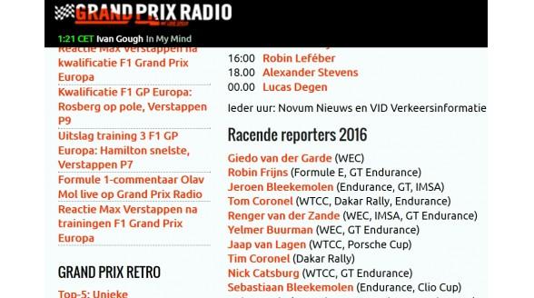 Formule 1-verslag ook op Grand Prix Radio