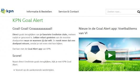 KPN biedt Eredivisie Goal Alert ook komende vijf jaar aan