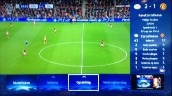 SBS biedt extra informatie via HbbTV bij Champions League