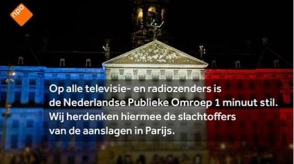 Veel zenders doen mee aan Franse rouw